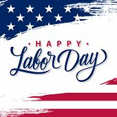 Usa Labor Day Greeting Card With Brush Stroke Background In United States National Flag Colors And H poster