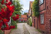 Beautiful Cozy Street Of The Old Town Of Luneburg In Germany. A Street In A Small German City, Cozy  poster