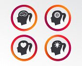 Head With Brain And Idea Lamp Bulb Icons. Female Woman Think Symbols. Cogwheel Gears Signs. Love Hea poster