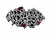Handwritten Graffiti Font Alphabet. Set On Black Background. poster