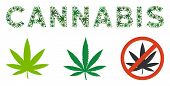 Cannabis Label Mosaic Of Cannabis Leaves In Different Sizes And Green Variations. Vector Flat Cannab poster