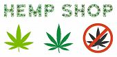 Hemp Shop Label Collage Of Hemp Leaves In Different Sizes And Green Hues. Vector Flat Weed Items Are poster