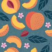 Peaches Seamless Pattern. Whole And Sliced Peaches With Leaves And Flowers On Shabby Background. Ori poster