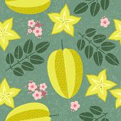 Star Fruit Seamless Pattern. Ripe Carambola With Leaves And Flowers On Shabby Background. Original S poster