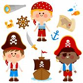 Vector Collection Of Boys With Pirate Costumes, A Ship And Other Pirate Themed Illustrations. poster