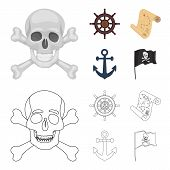 Pirate, Bandit, Rudder, Flag .pirates Set Collection Icons In Cartoon, Outline Style Vector Symbol S poster