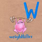 Alphabet For Children With Pig. Letter W. Weightlifter Craft Phone poster