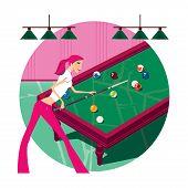 Zodiac Sports Lady. Scorpio. Girl Playing Billiards.  On A Round Background poster