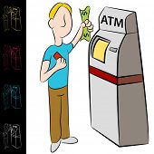 An image of a man using an atm machine.