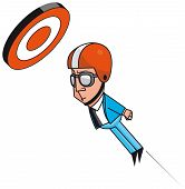 foto of cannonball  - Isolated illustration of Cannonball businessman reaching target - JPG
