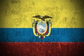 stock photo of guayaquil  - Dirty Weathered Flag Of Ecuador fabric textured - JPG