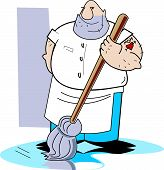 pic of clip-art staff  - Janitor or Janitorial Clip Art of Man Cleaning with Mop - JPG