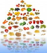 stock photo of fruits vegetables  - food pyramid and water reflection  - JPG