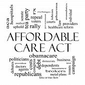 Concepto de Cloud de palabra Affordable Care Act en blanco y negro