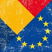 Romania and european grunge Flag. flag of european union members