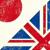 Постер, плакат: Английский и Японии гранж флаг Этот флаг представляет связь между Союзом Великобритании и Японии