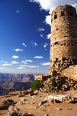 stock photo of grand canyon  - Grand Canyon Desert View Watchtower on a sunny summer day - JPG