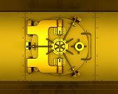 image of bank vault  - 3D render of a gold bank vault - JPG