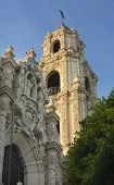 stock photo of assis  - Front Ornate Carvings Facade Steeple Cross Mission Dolores Saint Francis De Assis San Francisco California - JPG