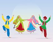 foto of punjabi  - an illustration of punjabi dancers prforming a folk dance in traditional dress on a blue background with a big sun - JPG