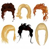 pic of black curly hair  - Set of hair style samples for woman - JPG