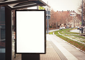 stock photo of bus-shelter  - Billboard banner empty white at a bus stop - JPG