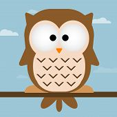 Cute Owl Vector Illustration.