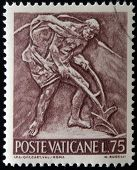 A stamp printed in Vatican shows Bas reliefs of arts and crafts farmer plowing