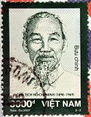 VIETNAM - CIRCA 2007: A stamp printed in Vietnam shows Ho Chi Minh circa 2007