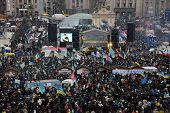 KIEV, UKRAINE - DECEMBER 08: Mass meeting of millions for the government's resignation, December 08,