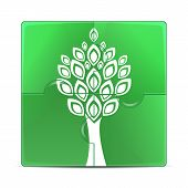 Eco Icon.green Puzzle With The Image Of A White Tree.puzzles With A Plant Isolated On White Backgrou