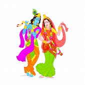 image of lord krishna  - easy to edit vector illustration of Lord Krishna and Radha - JPG