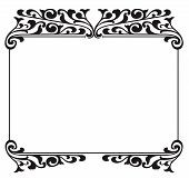 picture of scrollwork  - Black and white ornate scrollwork frame or scroll border - JPG