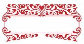 stock photo of scrollwork  - Victorian scrollwork ornament in red for valentines day nameplate or boarder frame - JPG