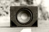 picture of subwoofer  - Subwoofers on the road outdoors closeup photo - JPG