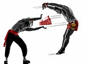 image of manga  - two manga video games martial arts fighters fighting combat in silhouettes on white background - JPG