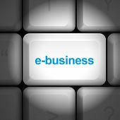 foto of ebusiness  - message on keyboard enter key for e - JPG