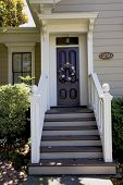 stock photo of front door  - Front steps to Victorian Home in Benicia - JPG