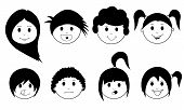 stock photo of teen pony tail  - set of kids faces isolated on white - JPG