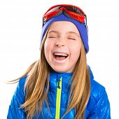 pic of crazy hat  - Crazy laughing funny blond kid girl with winter snow equipment hat and goggles - JPG