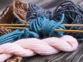 image of blue things  - Things for knitting. 