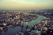 stock photo of architecture  - London rooftop view panorama at sunset with urban architectures and Thames River - JPG