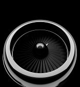 stock photo of rotor plane  - Front view of jet engine - JPG