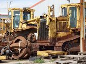 picture of scrap-iron  - Old scrap iron bulldozer vehicles and parts - JPG