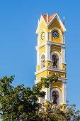 pic of playa del carmen  - Beautiful old Spanish church and bell tower near Playa del Carmen Mexico - JPG