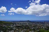 picture of waikiki  - Diamondhead and the city of Honolulu on Oahu on a nice day - JPG