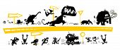 picture of pterodactyl  - Running Silhouettes on the Evolution scale with road signs - JPG