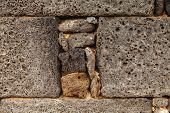 stock photo of pumice-stone  - Antique lava stone wall in Lanzarote - JPG