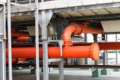 stock photo of stopcock  - Pipe of Fire fighting system for building  - JPG
