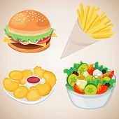 picture of french culture  - French Fries Hamburger Nuggets Vegetable Salad with cheese - JPG